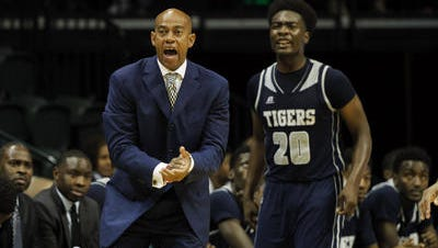 The coaching rivalry between Jackson State's Wayne Brent, left, and Alcorn State's Luther Riley might not happen today.