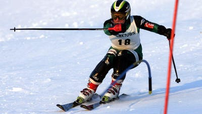 A ski racer on hill during high school competition at Thunder Ridge in Patterson.