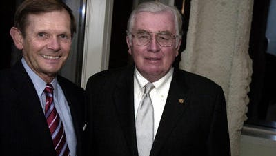 Jack Krol, retired chairman and CEO of DuPont, (left) and Charles Cawley, retired chairman and CEO of MBNA, are shown in December 2006. Cawley, who died Wednesday, is remembered for his strong commitment to various charitable organizations.