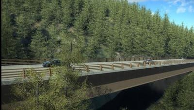 This drawing shows the Pfeiffer Canyon Bridge in Big Sur. It was damaged by heavy rainfall this year and the new bridge opened last week, according to Caltrans.