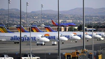 Allegiant Air planes at its Las Vegas hub.