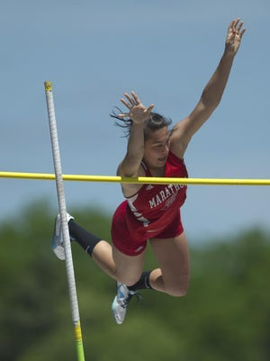 Marathon's Emily Heil clears 11 feet to win the Division 3 pole vault competition at the WIAA State Track and Field Meet at University of Wisconsin-La Crosse, Saturday.