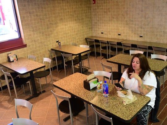 Penny Horner sits down for lunch Monday, Nov. 20, 2017. Rutter's Farm Store recently remodeled their dining area and will soon open a beer cave in the store at Orchard Drive and South Main Street, Chambersburg.