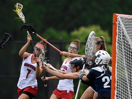 Susquehannock's Kenna Hancock takes a shot on goal against Wyomissing during District 3 girls' lacrosse semifinals, Tuesday, May 22, 2018. John A. Pavoncello photo