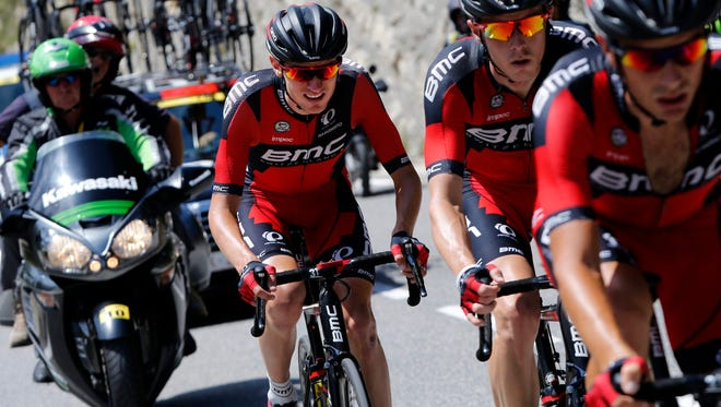 Tejay Van Garderen, left, rides with teammates during Stage 17 of the 2015 Tour de France  between Digne-les-Bains and Pra Loup in France.
