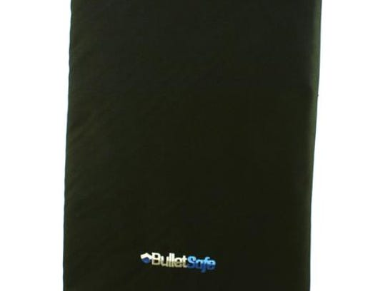 This undated image shows a bulletproof backpack panel sold for $99 by BulletSafe.com, a security company in Troy, Michigan.