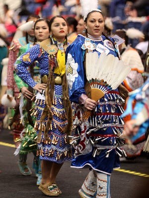 Lorrena Alameda of Sioux Falls dances during the Sioux Empire Wacipi at the Sioux Falls Arena on Friday, Feb. 26, 2016.