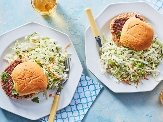 Kimchi-spiced pork burgers with crunchy cabbage slaw