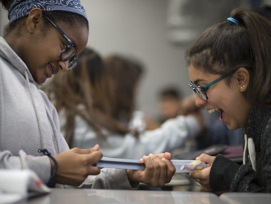 Isabel Archie (left) and Katherine Martinez test Boyles