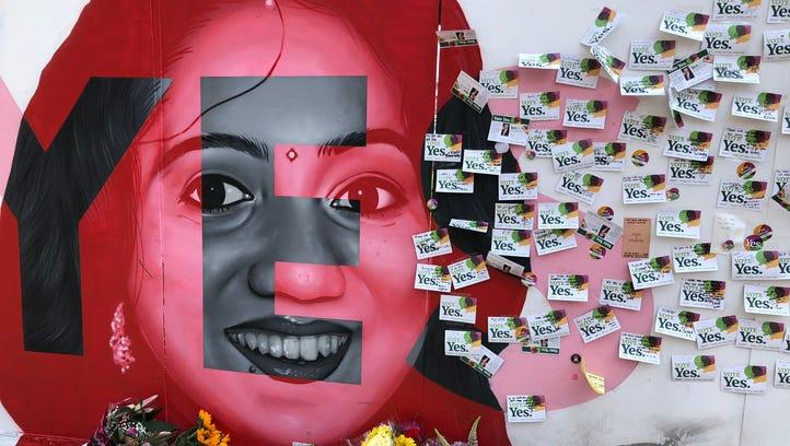 A mural of Savita Halappanavar, who died in Ireland