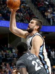Memphis Grizzlies Marc Gasol shoots and is fouled by