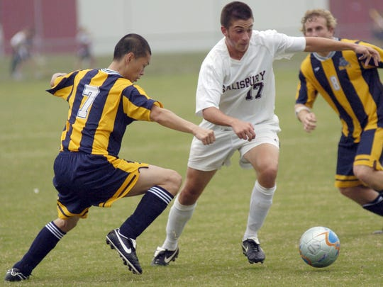 Alex Hargrove (17) was a midfielder for the Sea Gulls. In this 2006 game, he broke past Gallaudet's Chin Wei Chang while making his way up field.