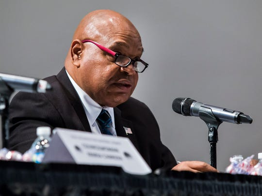 City Council President Theo Gregory speaks during the Complexities of Color Coalition's Wilmington Mayoral Debate at the Ezion Fair Baptist Church in Wilmington on Monday evening.