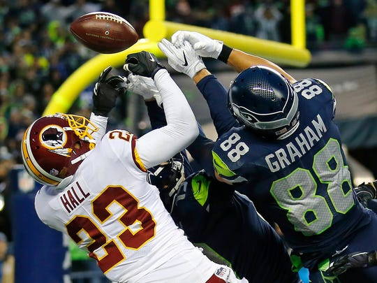 Tight end Jimmy Graham caught a pass on Oct. 29 to give the Seahawks a win over the Texans, but he couldn't reel in a pass last Sunday that would have clinched a win over the Redskins.