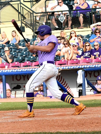 Campbell County's Noah Brewer snags a base knock for