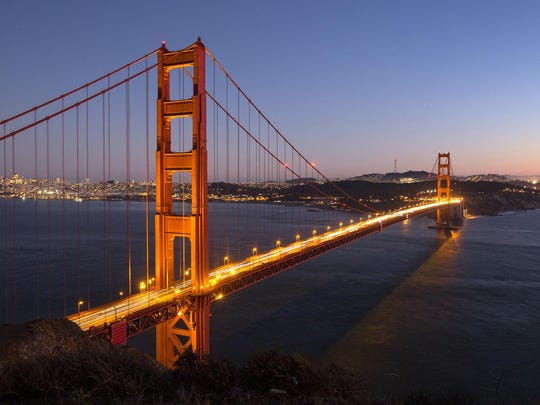 The Golden Gate Bridge from Battery Spencer at Fort Baker in the Golden Gate National Recreation Area just after sunset in San Francisco.