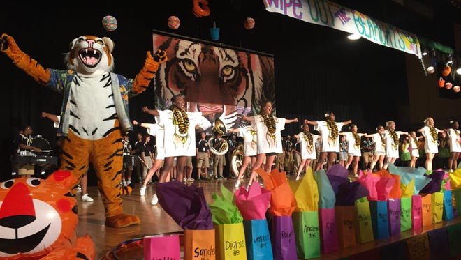 Neville High School hosts a pep rally on football game days.