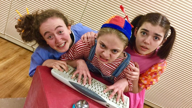 """From left, Noa Shapiro-Tamir, Riley Kwortnik and Rachel-Elizabeth Frank star as chimps attempting to write Hamlet in """"Words, Words, Words,"""" one of the six short plays that make up """"All in the Timing"""" from Running to Places."""