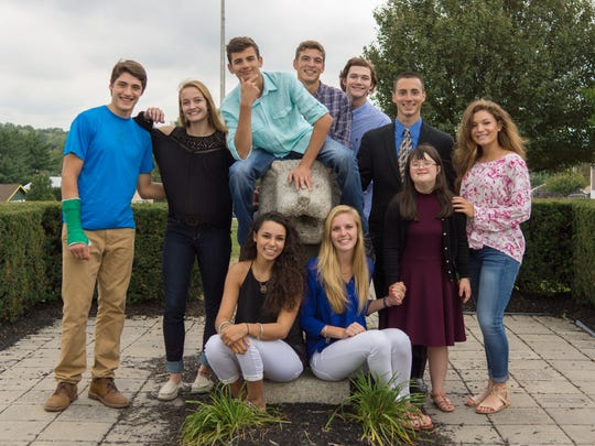 The 2016-17 Homecoming Court for North Hunterdon High School, including Julie Schmidt, 18, of Clinton Township (second from  right), a special education student who was named Homecoming Queen at the Oct. 14 football game. It is an honor voted on by the entire student body.