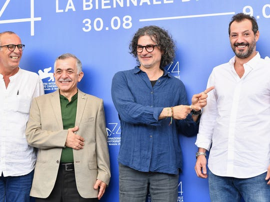 """The Insult"" team attends the Venice Film Festival on Aug. 31, 2017: Kamel El Basha (from left) Camille Salameh, Ziad Doueiri and Adel Karam."