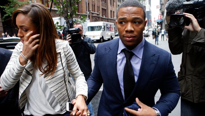 Ray Rice arrives with wife Janay Palmer for an appeal hearing of his indefinite suspension from the NFL.
