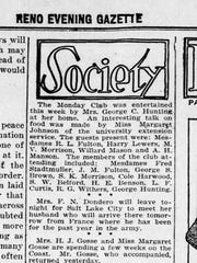 An early mention of Reno's Monday Club in the April 30, 1919 edition of the Reno Evening Gazette.