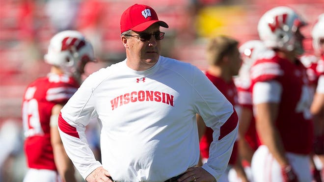 Sep 17, 2016; Madison, WI, USA;  Wisconsin Badgers head coach Paul Chryst looks on during warmups prior to the game against the Georgia State Panthers at Camp Randall Stadium. Mandatory Credit: Jeff Hanisch-USA TODAY Sports