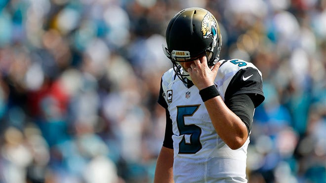 Sep 25, 2016; Jacksonville, FL, USA; Jacksonville Jaguars quarterback Blake Bortles (5) reacts after a play in the second half against the Baltimore Ravens at EverBank Field. Baltimore Ravens won 19-17. Mandatory Credit: Logan Bowles-USA TODAY Sports