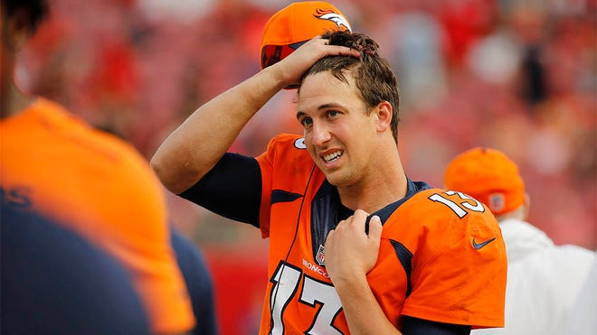 Oct 2, 2016; Tampa, FL, USA; Denver Broncos quarterback Trevor Siemian (13) looks on from the sidelines during the second half against the Tampa Bay Buccaneers at Raymond James Stadium. Mandatory Credit: Kim Klement-USA TODAY Sports
