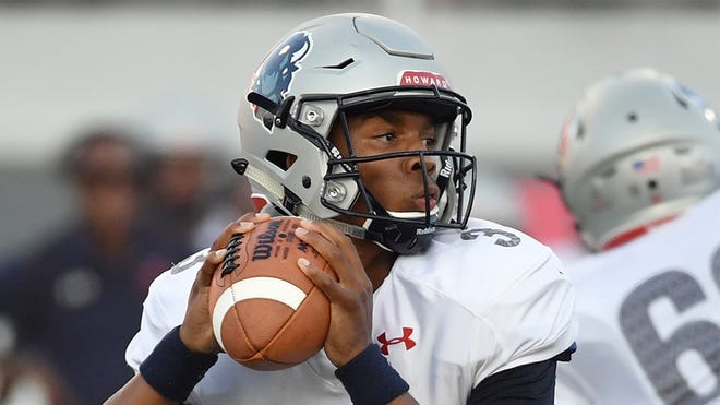 Former Howard University quarterback Caylin Newton looks to pass against UNLV.