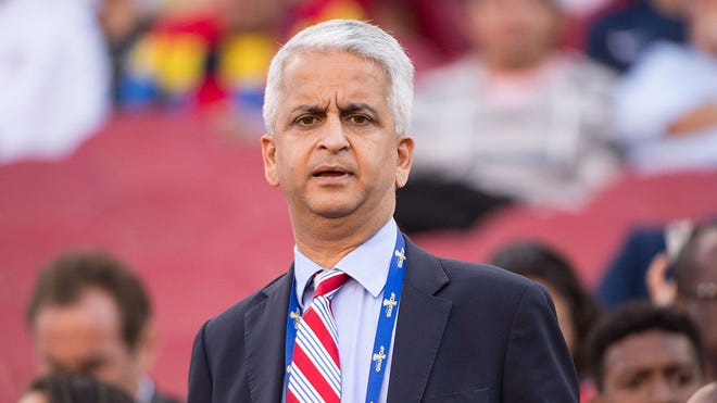July 26, 2017; Santa Clara, CA, USA; United States Soccer Federation president Sunil Gulati before the finals of the CONCACAF Gold Cup at Levi's Stadium. The United States defeated Jamaica 2-1. Mandatory Credit: Kyle Terada-USA TODAY Sports
