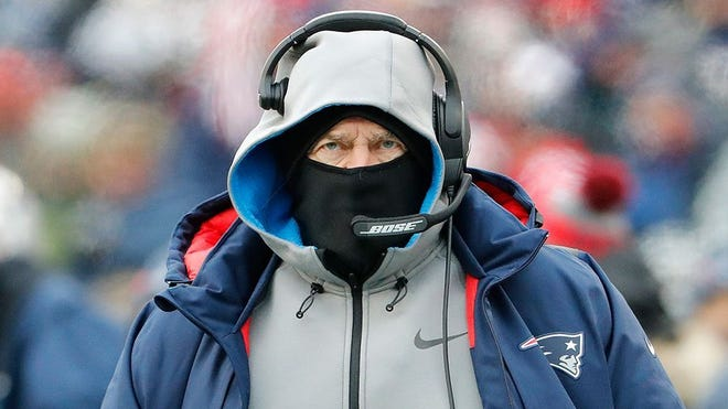 Dec 31, 2017; Foxborough, MA, USA; New England Patriots head coach Bill Belichick during the second quarter against the New York Jets at Gillette Stadium. Mandatory Credit: Winslow Townson-USA TODAY Sports