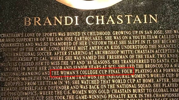 U.S. soccer legend Brandi Chastain honored with creepy plaque that looks nothing like her