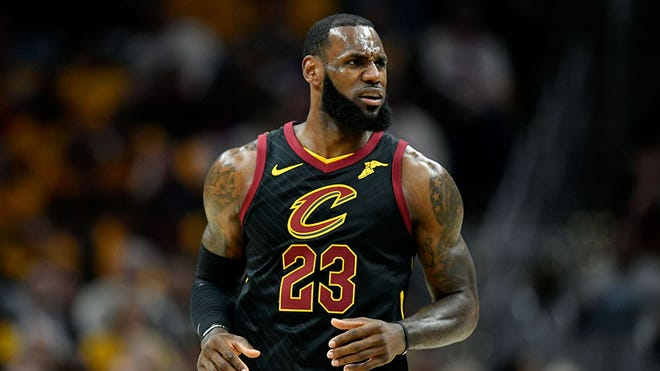 May 21, 2018; Cleveland, OH, USA; Cleveland Cavaliers forward LeBron James (23) reacts during the first quarter against the Cleveland Cavaliers in game four of the Eastern conference finals of the 2018 NBA Playoffs at Quicken Loans Arena. Mandatory Credit: David Richard-USA TODAY Sports