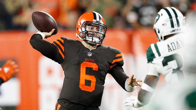 CLEVELAND, OH - SEPTEMBER 20:  Baker Mayfield #6 of the Cleveland Browns throws a pass during the second quarter against the New York Jets at FirstEnergy Stadium on September 20, 2018 in Cleveland, Ohio. (Photo by Joe Robbins/Getty Images) ORG XMIT: 775192596 ORIG FILE ID: 1036935776