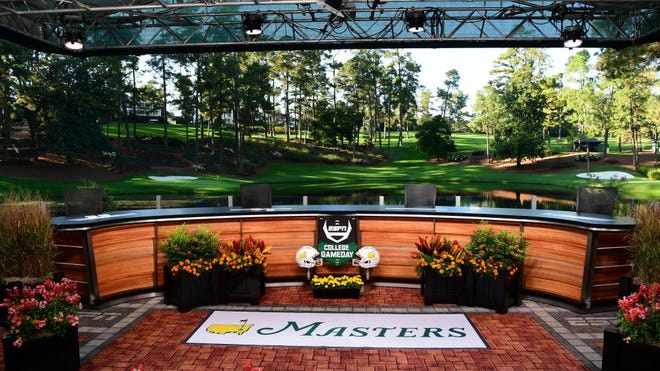 ESPN's College GameDay set overlooking Ike's Pond with the 9th green on the Par 3 course in the background.