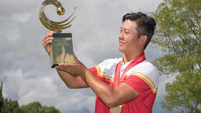 Lin Yuxin of China pictured during round 4 of the Asia-Pacific Amateur Championship at Royal Wellington Golf Club, Wellington, New Zealand, on Sunday, Oct. 29, 2017.