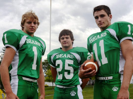 From left, Margaretta sophomores Noah Hilton, Collin Lane and Logan Graffin lead a large wave of underclassmen who will be looked upon to make a difference for the Polar Bears in 2015.