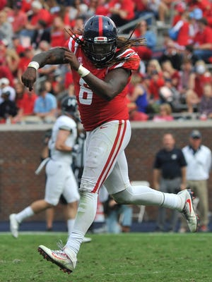 Ole Miss defensive end Fadol Brown (6) has posted 29 tackles and three sacks in the past three games.