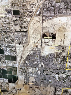 This parcel of land, shaped like a reverse image of Nevada, could become a 309-acre park in south Gilbert.