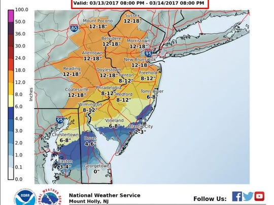 Latest forecast from the National Weather Service,