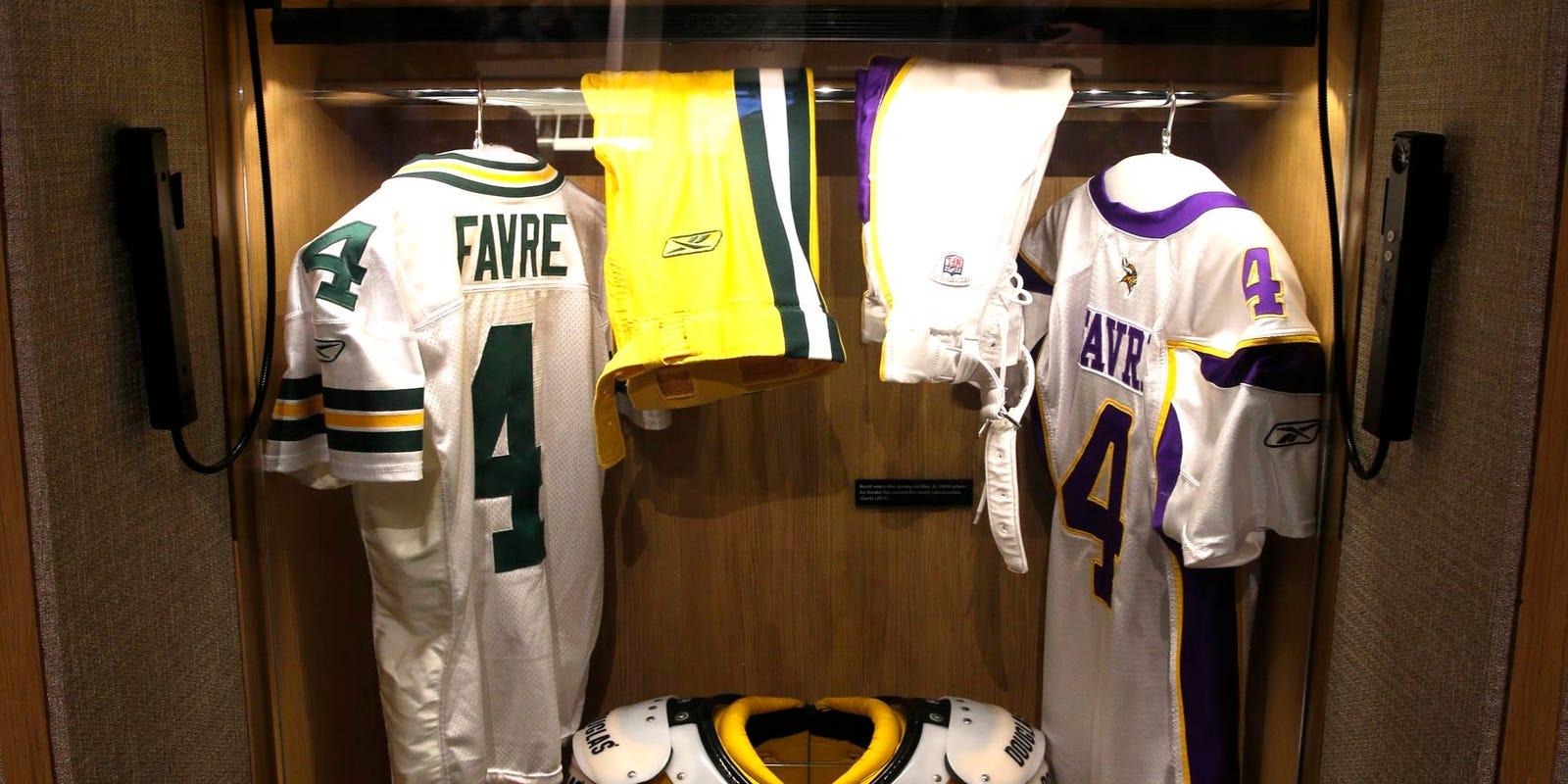 5931be40f Brett Favre s locker at the Pro Football Hall of Fame. Brett Favre s locker  has ...
