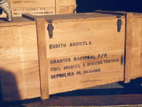 One of the boxes of munitions seized during the U.S. invasion of Panama during Operation Just Cause in 1989. The munitions were brought to Letterkenny Army Depot where they were stored in a bunker.