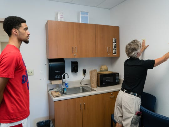 Philippe Salawa, a red-shirt freshman at College of the Desert (COD), suffered from two concussions in 2015, causing him to sit out for the basketball season.  Patty Curtiss, COD Athletic Training Program Lead, continues to monitor his progress.