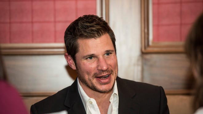 Nick Lachey is pictured during the ribbon cutting event for Lachey's Bar.