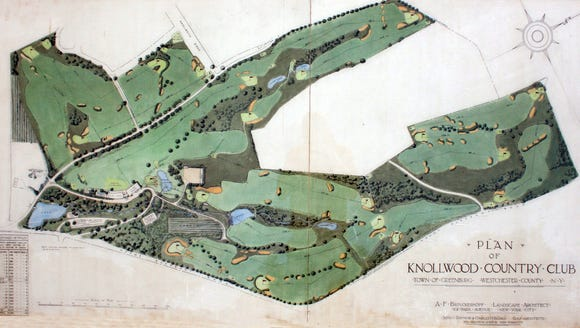 A map of Knollwood Country Club in Greenburgh April