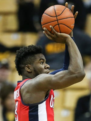 Ole Miss guard Terence Davis (3) posted a double-double with 18 points and 11 rebounds against Missouri.