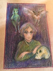 """""""Writer with company,"""" colored pencil artwork by Gail"""