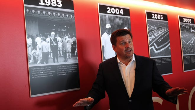 Arizona Cardinals President Michael Bidwill gives media a tour of the Cardinals' renovated facilities on Friday, September 11, 2015 in Tempe, AZ. The renovations costed the team about $15 million.