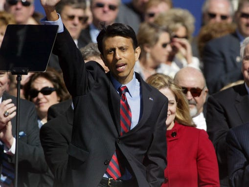 Bobby Jindal acknowledges the crowd after being sworn